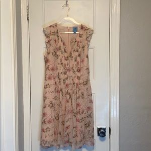 CeCe Duchess Floral Print Flutter Sleeve Dress
